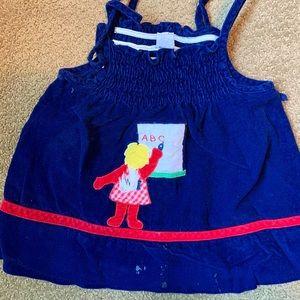 Vintage blue ABC corduroy jumper sleeveless dress